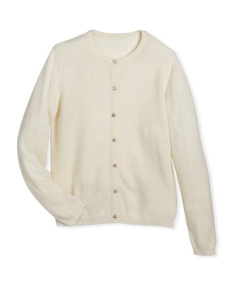 Button-Front Cashmere Cardigan, Size 7-14