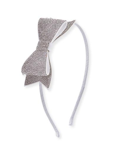 Girls' Crystal Bow Headband, Grey