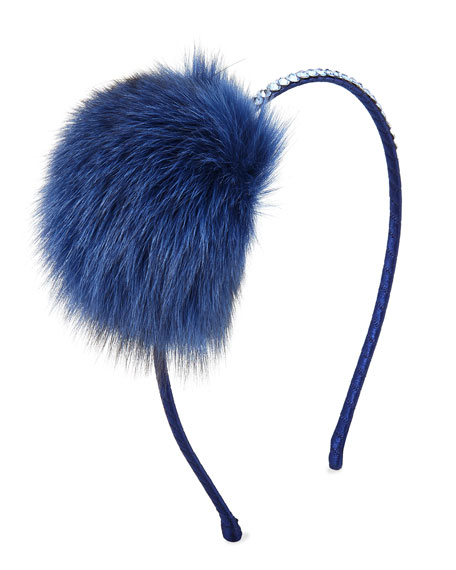 Girls' Crystal Headband w/ Fur Pompom, Blue