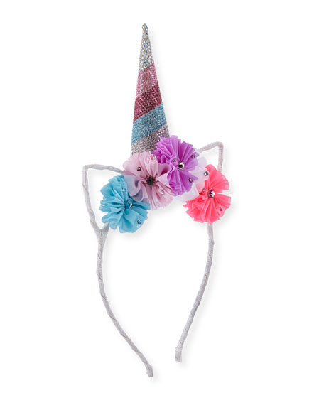 Girls' Crystal Unicorn Horn, Flowers & Ears Headband, Pink/Blue