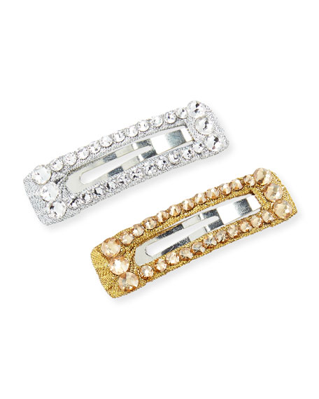 Girls' 2-Piece Crystal Snap-Clip Hair Set, Silver/Gold