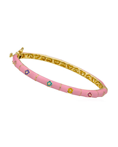 Girls' Flower Enamel Hinged Bangle  Pink