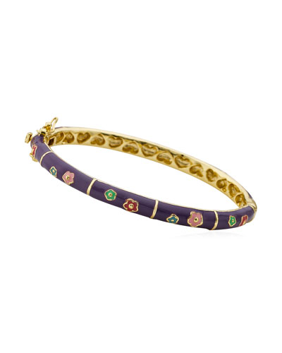 Girls' Flower Enamel Hinged Bangle, Purple