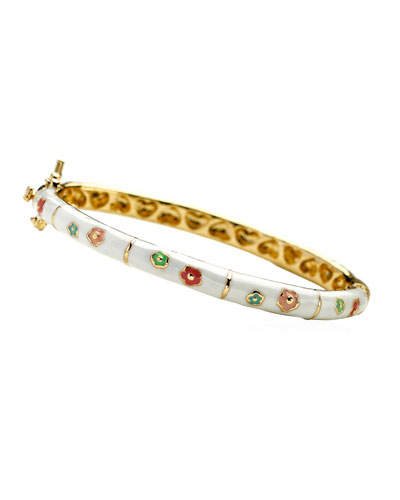 Girls' Flower Enamel Hinged Bangle  White