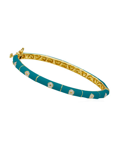 Girls' Flower Enamel Hinged Bangle, Turquoise