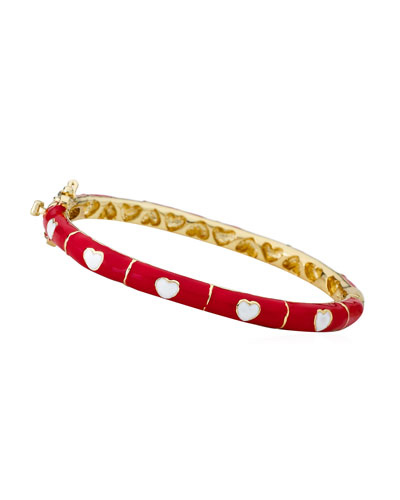 Girls' Heart Enamel Hinged Bangle, Red