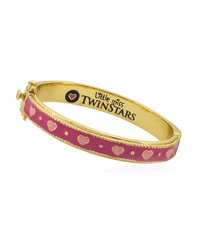 Girls' Tonal Heart Hinge Flat Bangle  Multi
