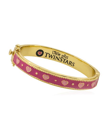 Girls' Tonal Heart Hinge Flat Bangle, Multi