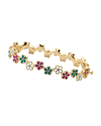 Girls' Multi Flower Enamel Bangle, Multi