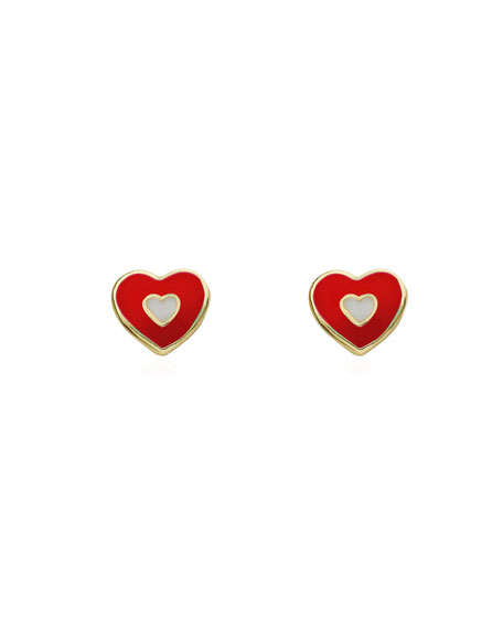 Girls' Enamel Heart Stud Earrings, Red