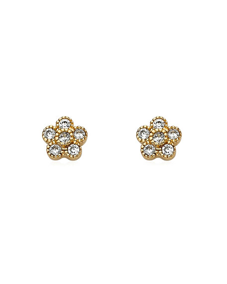 LMTS Girls' Flower Stud Earrings, Gold