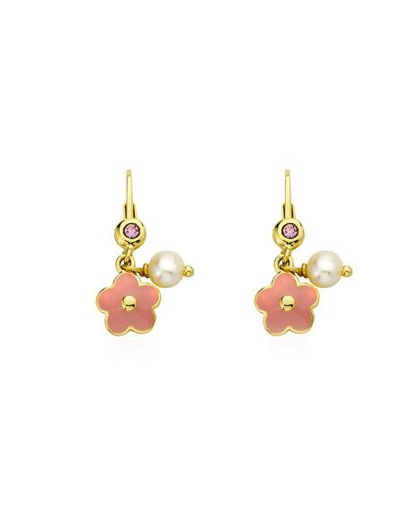 LMTS Girls' Hanging Flower Earrings, Pink