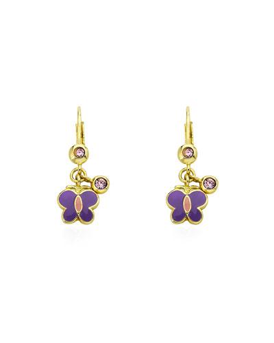 Girls' Dangle Butterfly Earrings, Purple