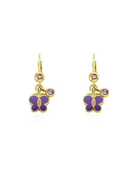 LMTS Girls' Dangle Butterfly Earrings, Purple