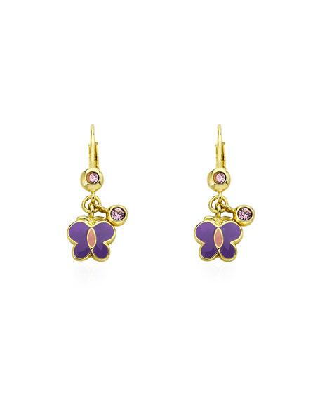 LMTS Girls' Dangle Butterfly Earrings, Purple