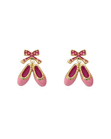 LMTS Girls' Enamel Hanging Ballet Slipper Earrings, Pink