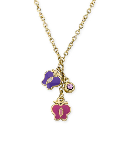 Girls' Hanging Butterflies & Crystal Necklace, Multi