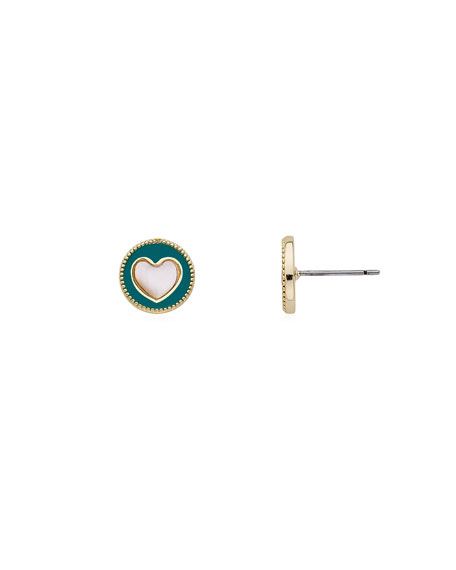 Girls' Enamel Heart Stud Earrings, Turquoise