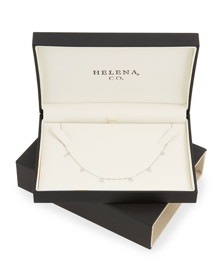 Helena Girls Sterling Silver Necklace w/ Cubic Zirconia Drops KD8cX
