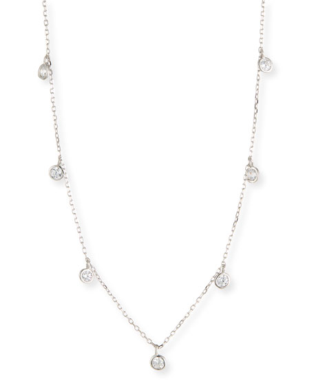 HELENA GIRLS' STERLING SILVER NECKLACE W/ CUBIC ZIRCONIA DROPS