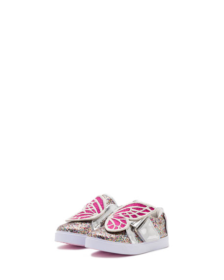Bibi Butterfly Low-Top Glittered Sneakers, Size 5T-3Y