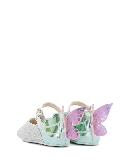 Chiara Glittered Butterfly-Wing Flat, Infant
