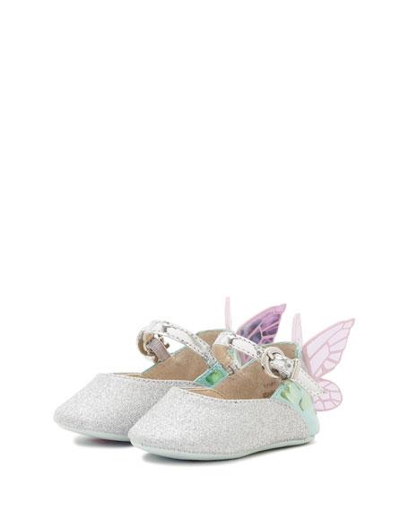 Chiara Glittered Butterfly-Wing Flat, Baby