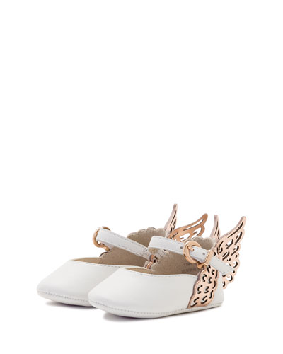 Evangeline Leather Butterfly-Wing Flat, White, Infant
