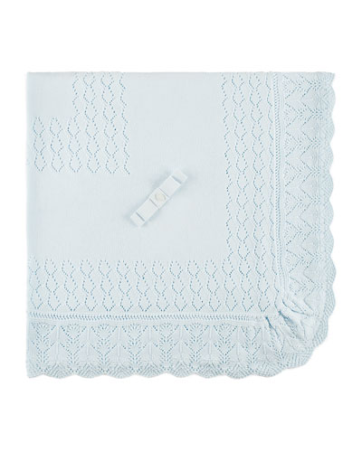 Diamond-Pointelle Knit Baby Blanket w/ Scalloped Detail, Pink