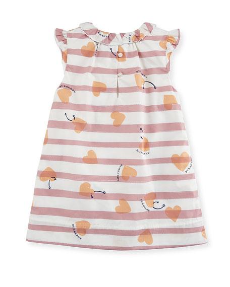 Alysa Sleeveless Striped Poplin Shift Dress, Size 12 Months