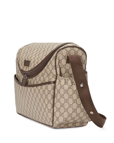 Basic GG Supreme Canvas Diaper Bag, Beige