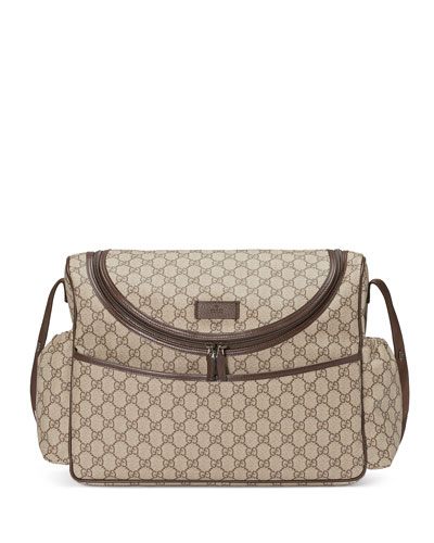 Basic GG Supreme Canvas Diaper Bag  Beige