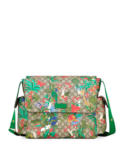 Borsa Mamma GG Supreme Canvas Jungle-Print Diaper Bag w/ Changing Pad
