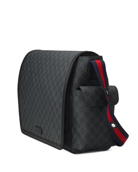 Basic GG Supreme Canvas Diaper Bag, Black