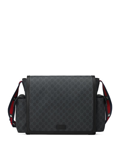 Basic GG Supreme Canvas Diaper Bag, Black