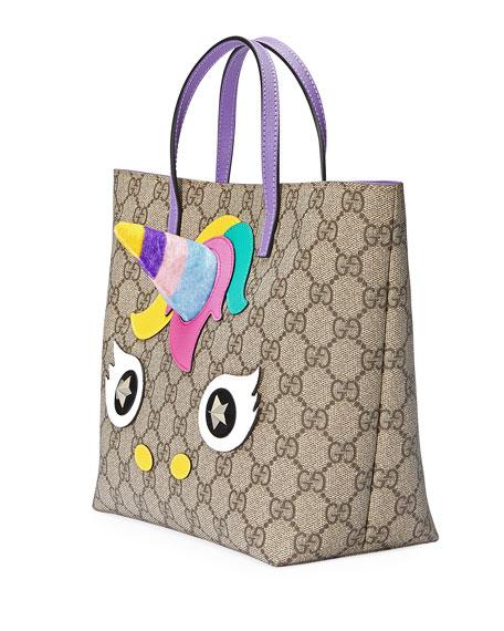 fa49c2490237 Gucci Girls' GG Supreme Unicorn Tote Bag, Beige