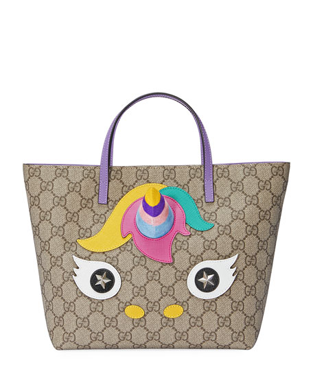 Image 1 of 1: Girls' GG Supreme Unicorn Tote Bag, Beige