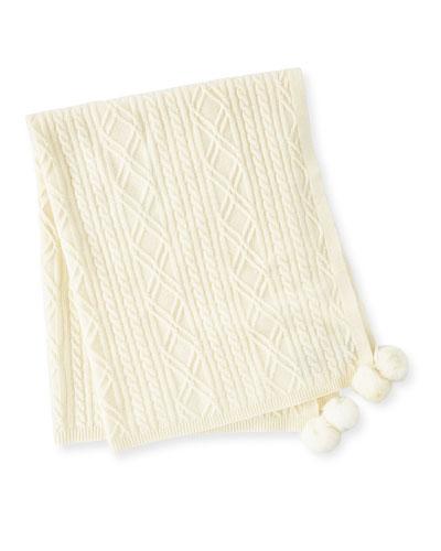 Cable-Knit Cashmere Baby Blanket w/ Fur Pompoms