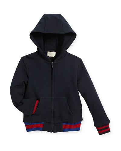 Hooded Felt Zip-Front Sweatshirt, Size 6-36 Months