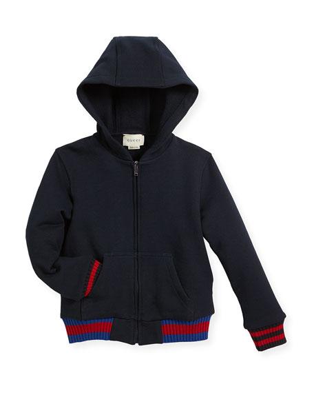 Gucci Hooded Felt Zip-Front Sweatshirt, Size 6-36 Months