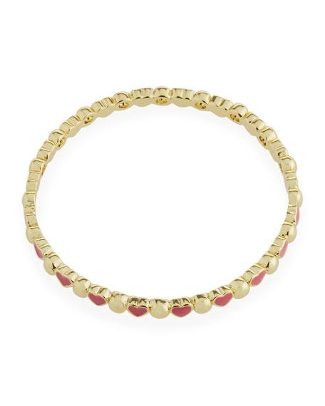 Girls' Heart 14k Gold Plated Brass Bangle, Red