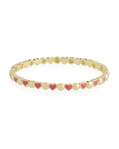 Girls' Heart 14k Gold Plated Brass Bangle  Red