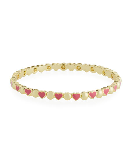 LMTS Girls' Heart 14K Gold Plated Brass Bangle, Red