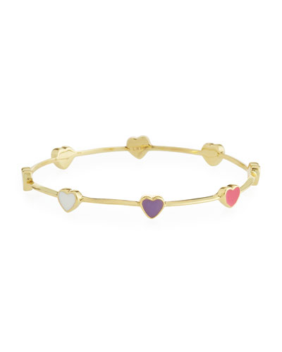 Girls' Heart Station 14k Gold Plated Brass Bangle  Multicolored
