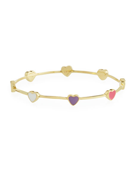 LMTS Girls' Heart Station 14K Gold Plated Brass Bangle, Multicolored