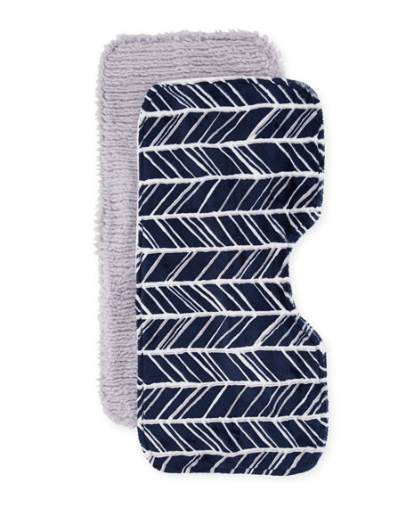 Herringbone Burp Cloth Set, Navy