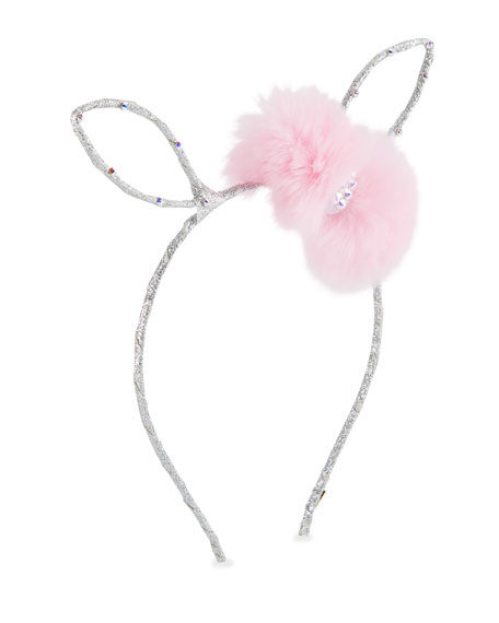 Bari Lynn Girls' Bunny Ear Headband w/ Fur