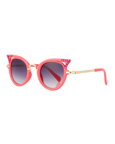 Girls' Cat-Eye Crystal Cutout Sunglasses