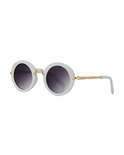 Girls' Round Gradient Sunglasses w/ Simulated Pearls