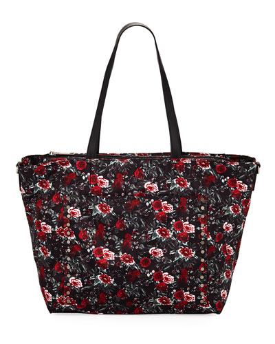 Logan Floral Nylon Diaper Tote Bag